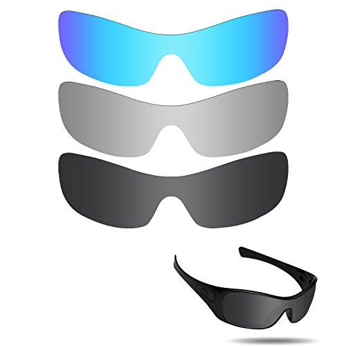 Fiskr Anti-Saltwater Polarisierte Ersatz Gläser für Oakley Antix 3Paar Pack, Stealth Black & Metallic Silver & Ice Blue
