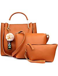 Mammon Women's Stylish Handbags Combo (3LR-BIB-Tan)