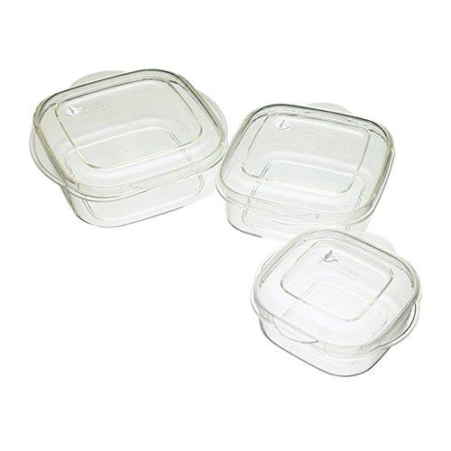 Kitchen Craft Mikrowellengeschirr 3-teiliges Behälter-Set, fleckenabweisend