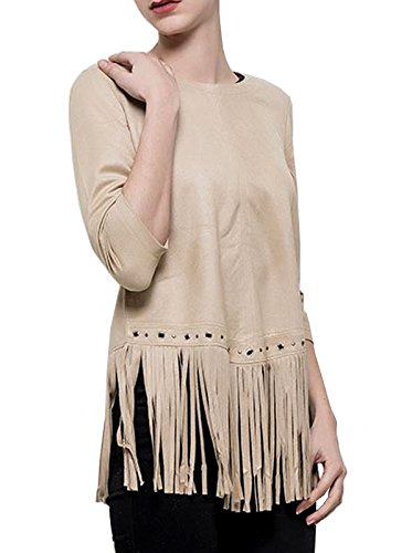 Indianer Frau Kostüm - Damen Shirt 3/4 Arm mit Fransen in Wildlederoptik Indianer Western Stil rosa beige oder braun, Größe:M, Farbe:Beige