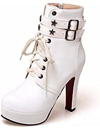 Europa y los Estados Unidos de mujeres super botas de tacón alto de espesor con hebilla del cinturón botas impermeables tamaño