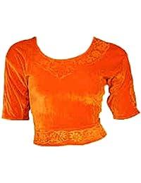 Orange Choli (Sari Oberteil) Samt Gr. S bis 3XL ideal für Bauchtanz
