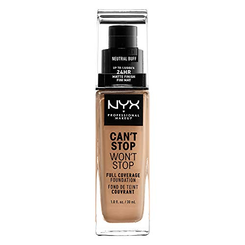 NYX Professional Makeup Can't Stop Won't Stop Full Coverage Foundation, Langanhaltend, Wasserfest, Vegane Formel, Mattierter Teint, Farbton: Neutral buff -
