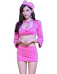 Maketook Frauen Sexy Stewardess Cosplay Uniform Temptation Exposed Brust Langarm Top + Minirock + Hut