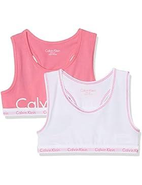 Calvin Klein Modern Cotton (Lg) 2 Pack Bralette Print, Conjunto de Lencería para Niñas