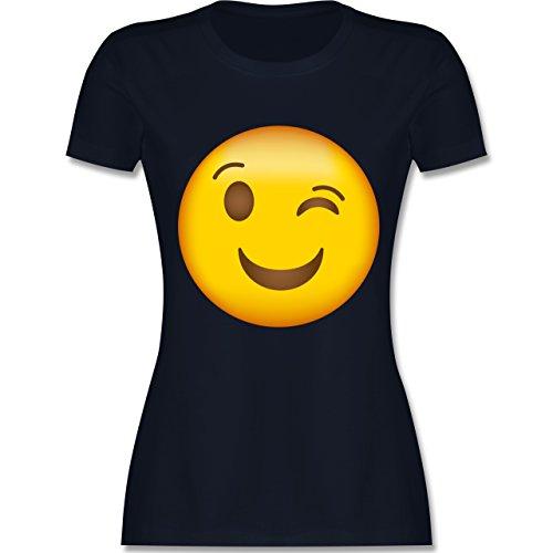 Shirtracer Comic Shirts - Zwinker Emoji - Damen T-Shirt Rundhals Navy Blau