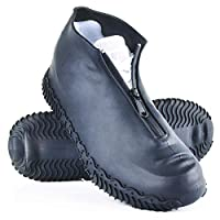 ydfagak Waterproof Shoe Covers, Silicone Reusable Shoe Cover Non-slip Durable Zipper Elastic Rain Cover Protection for Men Women