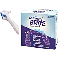 Retainer Brite Cleaning Tablets - 36 with KAV PLUS White Denture Brush