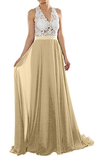 MACloth Women Halter V Neck Lace Chiffon Long Prom Dress Formal Evening Gown Champagner