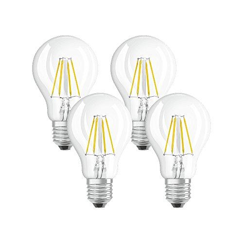 Osram Lampada LED E27, 4 W, 10.5 x 6 x 6 cm, 4 unità, standard, vetro
