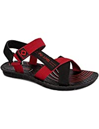 PU-SPM Men's Synthetic Outdoor Sandals & Floaters (Black-RED)