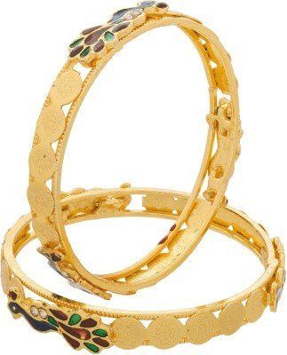 Zeneme Peacock Design Temple Coin Gold Plated Bangles Jewellery Bangle For Women and Girls Set of 2 (2.6)  available at amazon for Rs.199