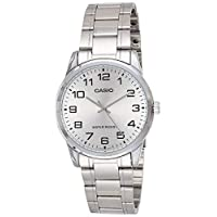 Casio Men's White Dial Stainless Steel Band Watch - MTP-V001D-7B