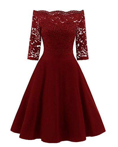 Viloree 51s Rockabilly Retro Damen Kleider Halbarme Swing Cocktailkleider Party Abschlussball Burgundy M