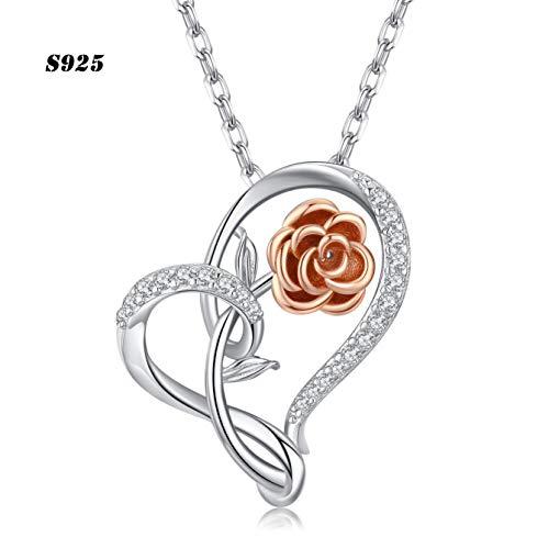 Halskette für Frauen, 925 Sterling Silber Herz anhänger mit Rose Feiner Schmuck Geschenk für Frau, Mutter und Freundin