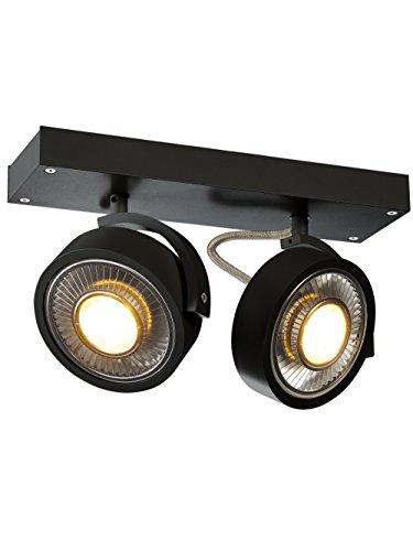 SLV LED Strahler KALU QPAR111 dreh- und schwenkbar | Dimmbare Wand- und Deckenleuchte zur Beleuchtung innen | LED Spot, Deckenfluter, Deckenstrahler, Decken-Lampen, Wand-Lampe | 2-flammig, GU10, EEK E-A++ (Ist Fertig Deckenfluter)