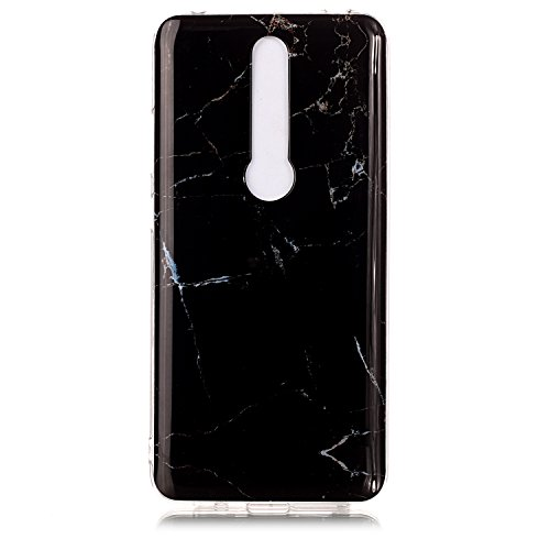 Everainy Kompatibel für Huawei Mate RS Porsche Design Hülle Silikon Marmor Neu Dünn Handyhülle Case Cover für Huawei Mate RS Cute Gummi Hüllen Stoßfest TPU Stoßstange Schutzhülle (Schwarz Marmor)