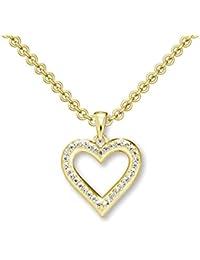 Herzkette Gold 925 Kette Zirkonia Stein Damen +GRATIS Etui mit Gravur Echt  Herzanhänger Herzchenkette Halskette Goldkette Gelbgold… d8f6c30798