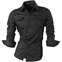 jeansian Herren Freizeit Hemden Shirt Tops Mode Langarmshirts Slim Fit 8371