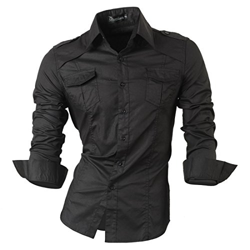 jeansian Herren Freizeit Hemden Shirt Tops Mode Langarmshirts Slim Fit 8371 8001_Black