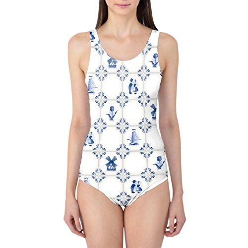 Queen of Cases Delft Blue Holland Pottery Women's Swimsuit - 4XL Badeanzug Holland Delft