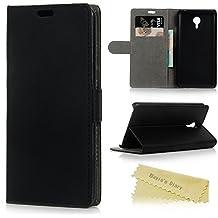 Meizu M2 Note Funda Libro de PU Leather Cuero - Mavis's Diary Funda para móvil Carcasa Con Flip case cover,Cierre Magnético,Función de Soporte,Billetera con Tapa para Tarjetas-Color de negro