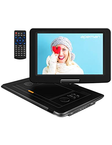 APEMAN Tragbarer DVD Player Auto 15,5'' mit  Eingebautem 6000mAh Portable CD Player 6 Stunden Akku  HD Display Unterstützt SD/USB/AV Out/IN Spiele Joystick(schwarz) (Dvd-player Usb Portable)