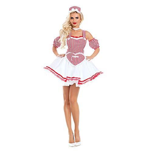 Shirt Kostüm Wench - MFBis Oktoberfest Damenkostüm Deutsches Bayerisches Biermädchen Drindl Tavern Wench Kostüm für Party, 9061, Pink