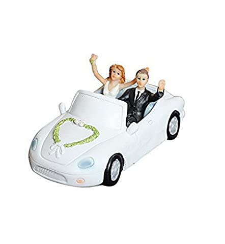Cake Toppers Bride and Groom sitting in Wedding Car