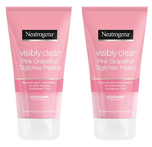 Neutrogena Visibly Clear Pink Grapefruit Tägliches Peeling - Erfrischendes Waschpeeling gegen Hautunebenheiten und Pickel im Gesicht mit Grapefruit Duft - 2 x 150ml