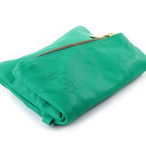 modamoda de -. ital petites dames de sac d'épaule de sac en cuir d'embrayage poignet Sac en cuir T95 Ozeangrün