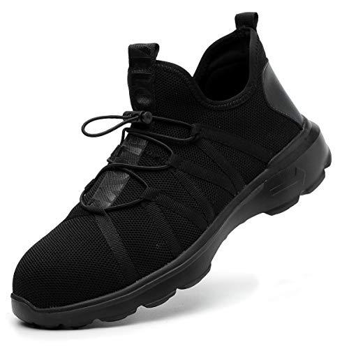 SUADEEX Damen Herren Sicherheitsschuhe S3 Arbeitsschuhe Sportlich Trekking Wanderhalbschuhe Stahlkappe Schutzschuhe Hiking Schuhe Traillaufschuhe Gr.35-46