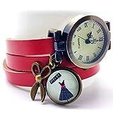Orologio multi-fila cabochon cuoio- forbici - vestito - rosso - Regalo di Natale per idea regalo...