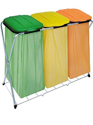 Artex spa 21.07.13 eco-grid-3 portasacchetto con coperchio per raccolta differenziata, verde/giallo/arancio, 96 x 42 x 78 cm