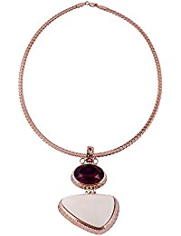 Stripes Presents Red And Off White Stone Gold Colour Hansli Design Necklace For Women/Girl