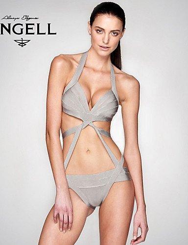 skt-swimwear-Damen-Halfter-Sexy-Bandage-Bikinis-massivKreuz-WirelessPadless-BH-BaumwollePolyester-GrauSchwarz