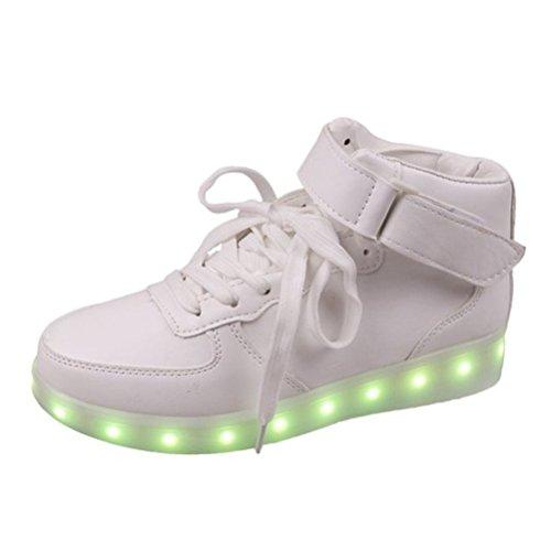 [Présents:petite serviette]JUNGLEST® - 7 Couleur Mode Unisexe Homme Femme Fille USB Charge LED Chaussures Lumière Lumineux Clignotants Chaussures de marche Haut-Dessus LED Ch c7