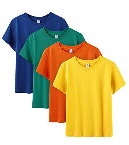 LAPASA Pack 4 Camiseta Niño Niña Unisex Manga Corta