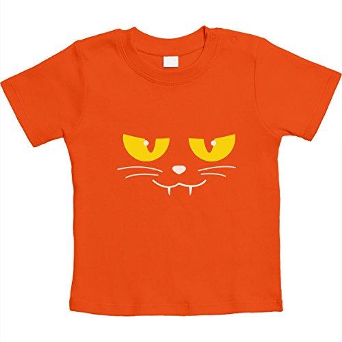 Katzen Gesicht Gruselig Halloween Karneval Kostüm Unisex Baby T-Shirt Gr. 66-93 6-12 Monate / 76 Orange