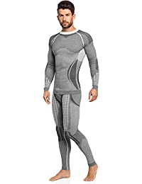 Ladeheid Hombre Ropa Interior Funcional Calzoncillos largos plus Camisa de manga larga Termo activo 50w10w20