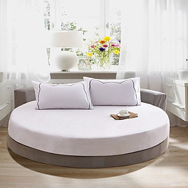 OSY Solid Cotton Round Fitted Sheet Two Meters In Diameter (1 Bedspread And 2 pillowcase 48cm*72cm) , white , queen