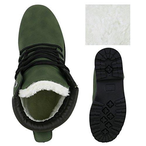 Stiefelparadies Damen Herren Unisex Warm Gefütterte Stiefeletten Outdoor Worker Boots Profilsohle Winterschuhe Camouflage Schuhe Übergrößen Flandell Dunkelgrün Schwarz