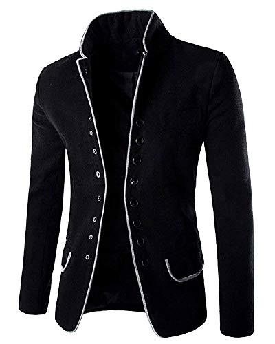 Giacca da uomo colletto blazer tailleur classico button slim taglie comode fit blazer everyday short coat peloso giacca a tunica cappotto capispalla abiti (color : schwarz, size : l)