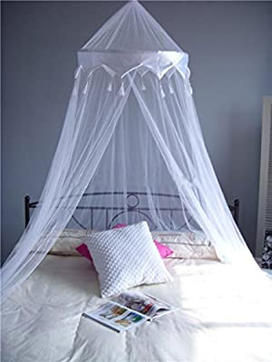 A-Express® White Mosquito Net Bed Canopy Up To King Size 100% Polyester 10 Meter Round - low-cost UK light store.