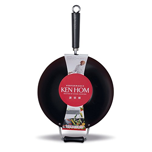 Flat-bottom Non-stick Fry Pan (KEN HOM Nonstick Carbon Steel Wok - Flat Bottom Asian Stir Fry Pan with Helper Handle - 12.5