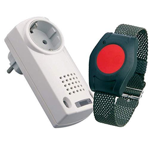 ELDAT RS10: Hausnotruf mit Funk-Notruf-Armband für die Pflege von Senioren, Altenpflege und Krankenpflege, Pflegeruf-Set ohne Quittierungsfunktion (Halsband-empfänger)