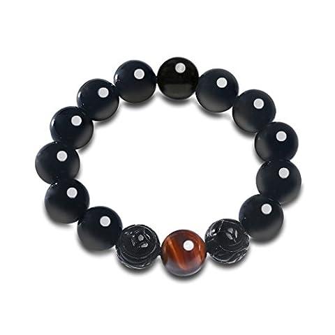 12mm Bracelet Tibétain Culture Chinoise PIXIU Perles Zodiaques Pierres Naturelles