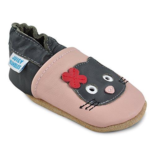 Juicy Bumbles - Weicher Leder Lauflernschuhe Krabbelschuhe Babyhausschuhe mit Wildledersohlen. Junge Mädchen Kleinkind- Gr. 12-18 Monate (Größe 22/23)- Schwarze Katze (Oben Farbe Tuch)