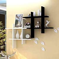 Dime Store Wall Mount Display Rack Floating Shelf for Storage and Wall and Home Decor Items (Set of Two, Black White)