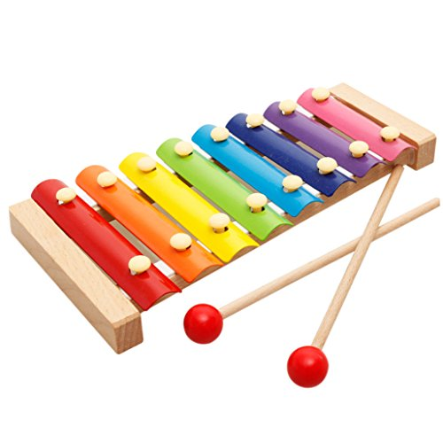 KSHOP 8 Note Baby Wooden Xylophone Hand Knock Rainbow Baby Musical Toys with Two Mallets Gift Toys for Boys and Girls 41e9Tua6TNL